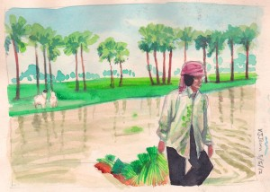Woman farmer dragging crops to plant
