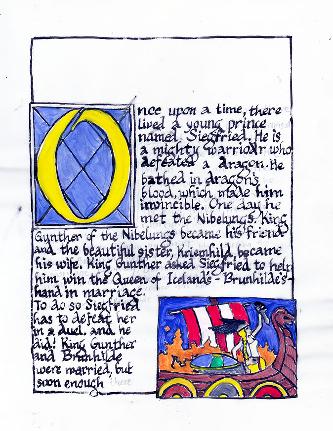 5th grade Illumination project for Medieval Art unit.  Pen & ink with poster paint on parchment paper. The story is about The Nibelungs.