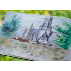 Painting the Eglise Saint-Paul Vincent from a garden park near the Blois Chataeau.