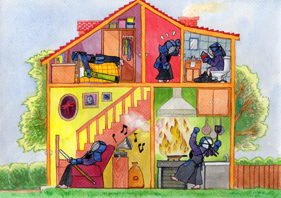 kendo family house illustration watercolor painting